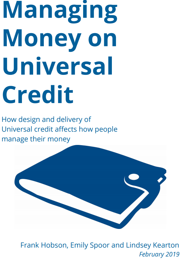 the cover of the Managing Money on Universal Credit with a wallet in the front